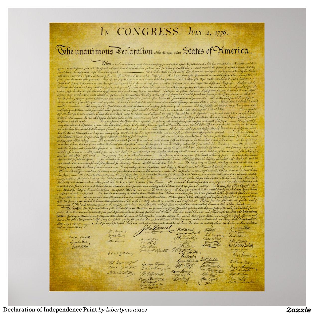 printable copy declaration independence preamble