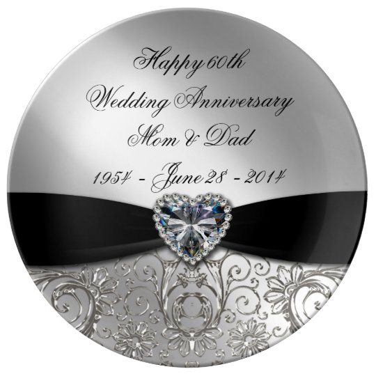 60th Wedding Anniversary Porcelain Plate Zazzle