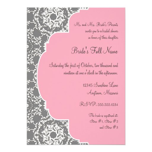 Pink And Grey Bridal Shower Invitations