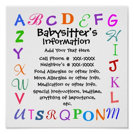 make your own babysitting signs