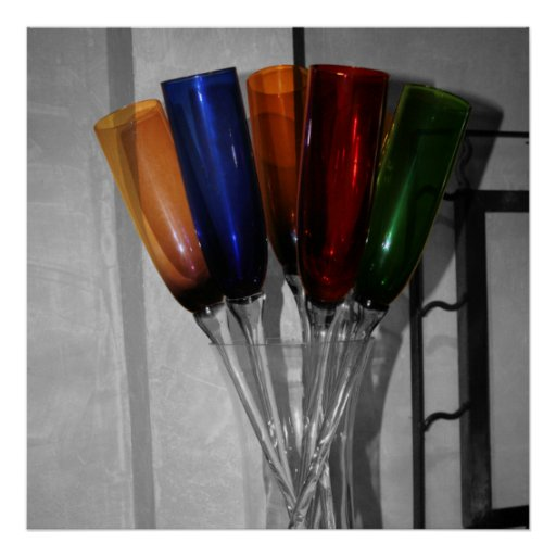 Colored Champagne Flutes Print | Zazzle