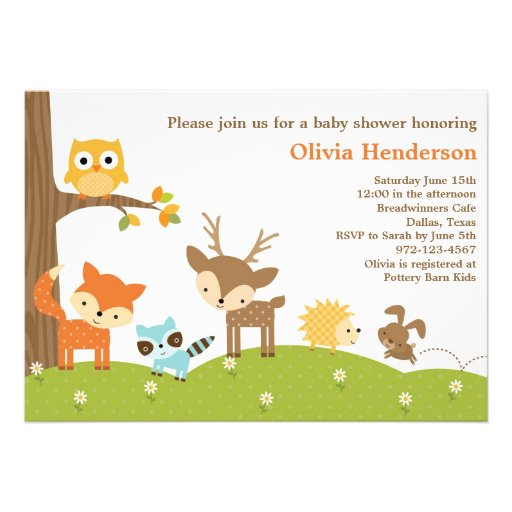"Cute Woodland Animal Invitations 5"" X 7"" Invitation Card ..."