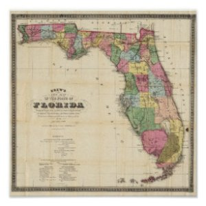 Map Of Florida Posters   Photo Prints   Zazzle Drew s New Map Of The State Of Florida Poster