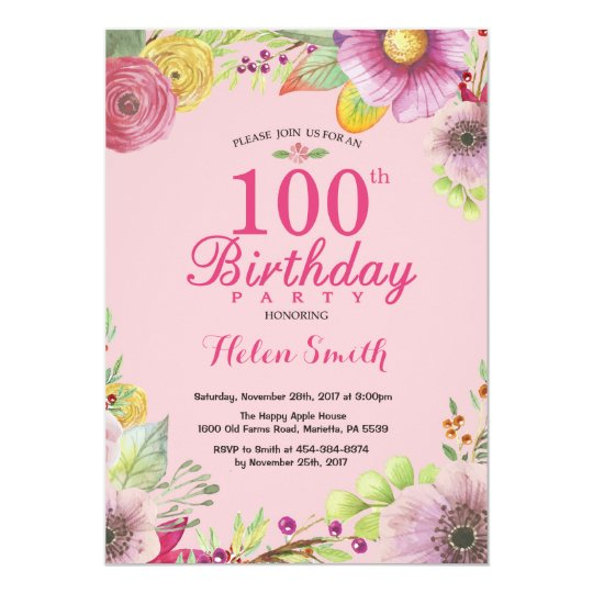100th Birthday Girl Invitation