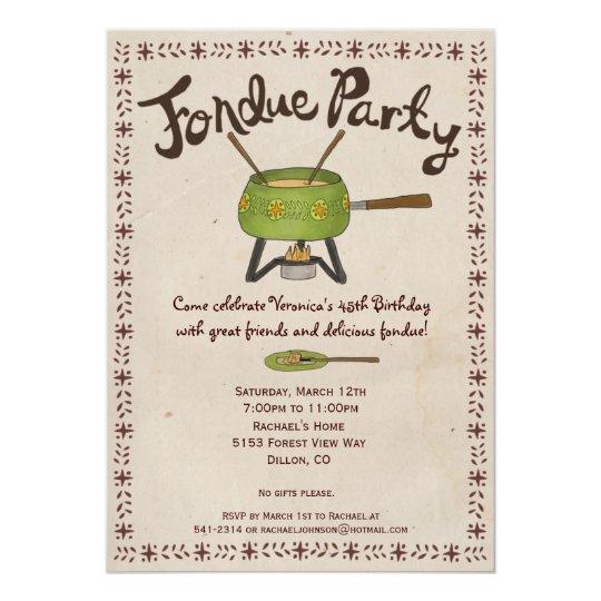 Party Wording Chocolate Fondue Invitation