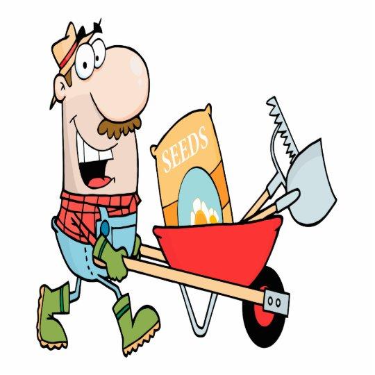 happy cartoon man gardening gardener cutout | Zazzle.com