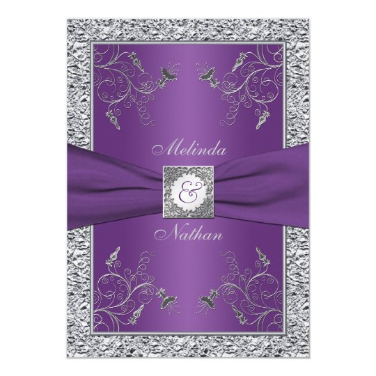 Purple And Blue Bridal Shower Invitations
