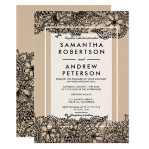 Wedding Invitations   Wedding Invitation Cards   Zazzle Lace Wedding Invitation Design   Rose Gold Delicate