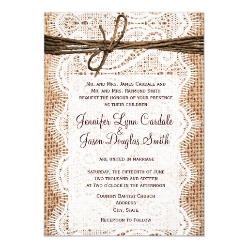 Cheap Wedding Invitations Burlap And Lace