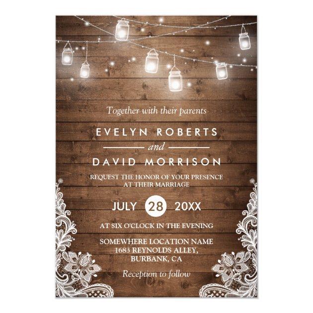 Rustic Mason Jar Invitations