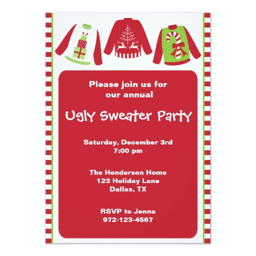 Tacky Sweater Party Invitation Wording