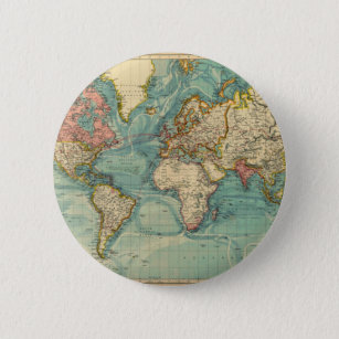 World Map Buttons   Pins   Custom Button Pins   Zazzle Vintage World Map Button
