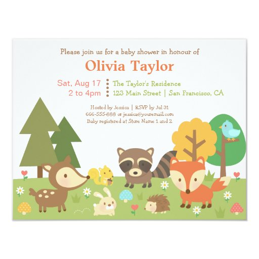 Woodland Animal Themed Baby Shower Invitations | Zazzle