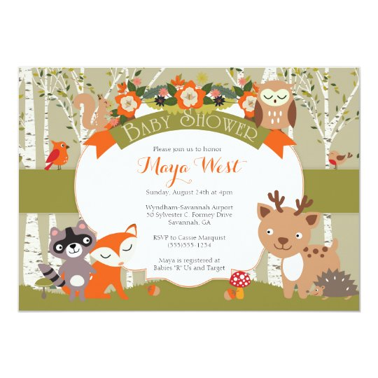 Woodland Shower - Forest Animals Themed Baby Showe Card ...