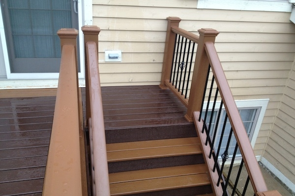 Two Tone Trex® Stairs Lindenhurst Rock Solid Builders Inc | Two Tone Wood Stairs | Timber | Partially Carpeted | White Back | Diy | Rug