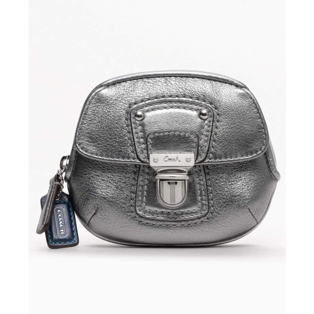 Le Meilleur Coach Poppy Leather Coin Purse In Gray Silver Anthracite Ce Mois Ci