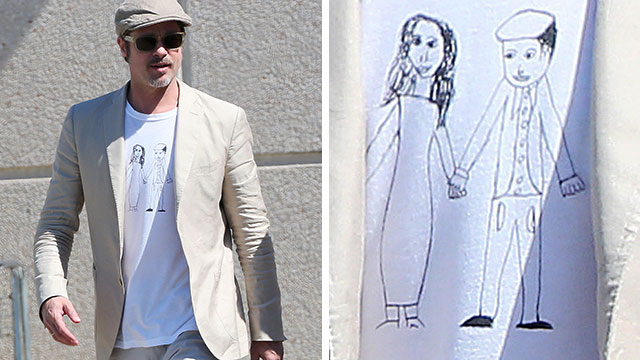 Le Meilleur Brad Pitt Wears Brangelina T Shirt Made By His Daughter Ce Mois Ci