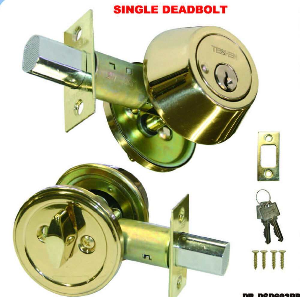 Le Meilleur Deadbolt Single Cylinder Polished Brass Door Lock 2 Keys Ce Mois Ci