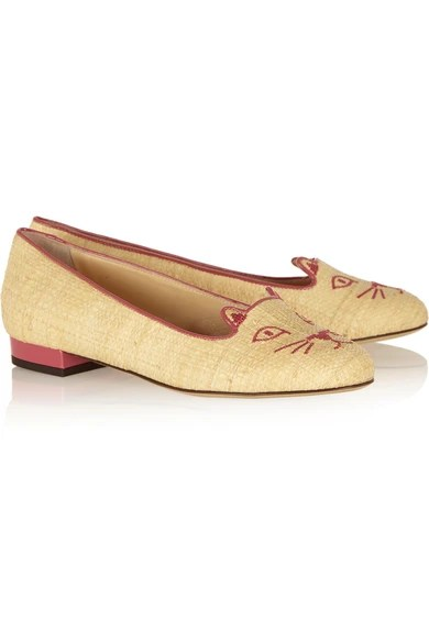 Le Meilleur Charlotte Olympia Kitty Embroidered Raffia Slippers Ce Mois Ci Original 1024 x 768
