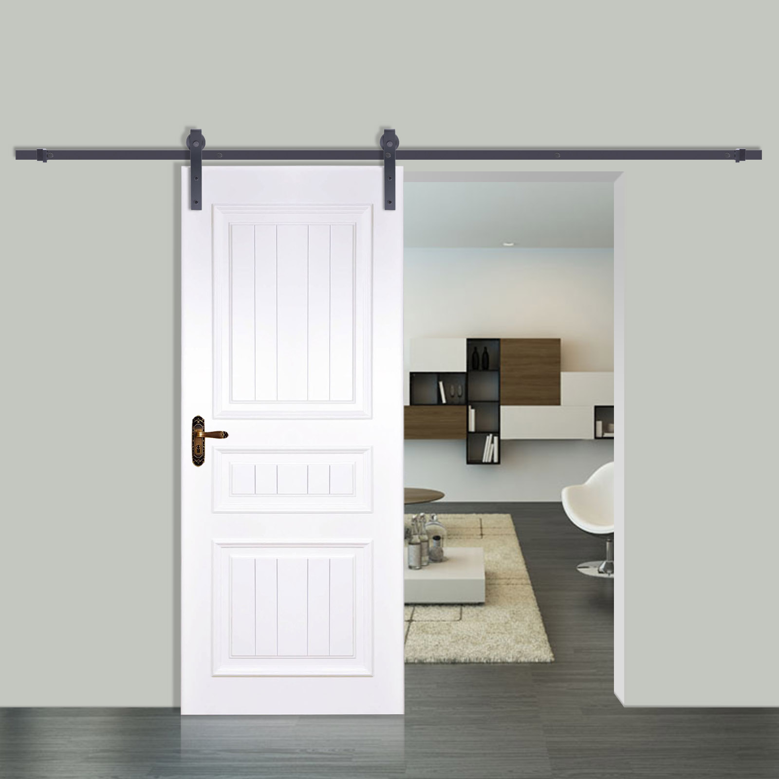 Le Meilleur Sliding Barn Wood Door Closet Hanger Gear Kit Door Track Ce Mois Ci