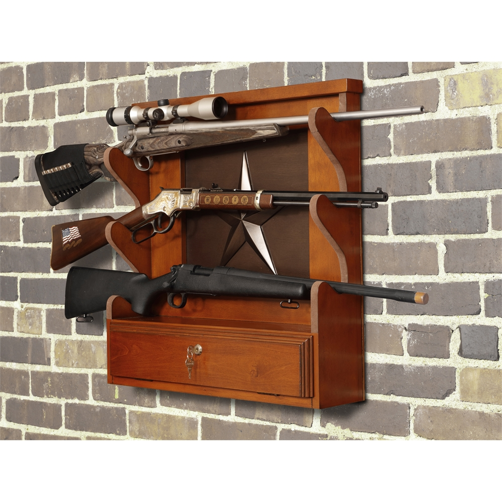 Le Meilleur American Furniture Classics Lone Star 3 Gun Wall Rack With Ce Mois Ci