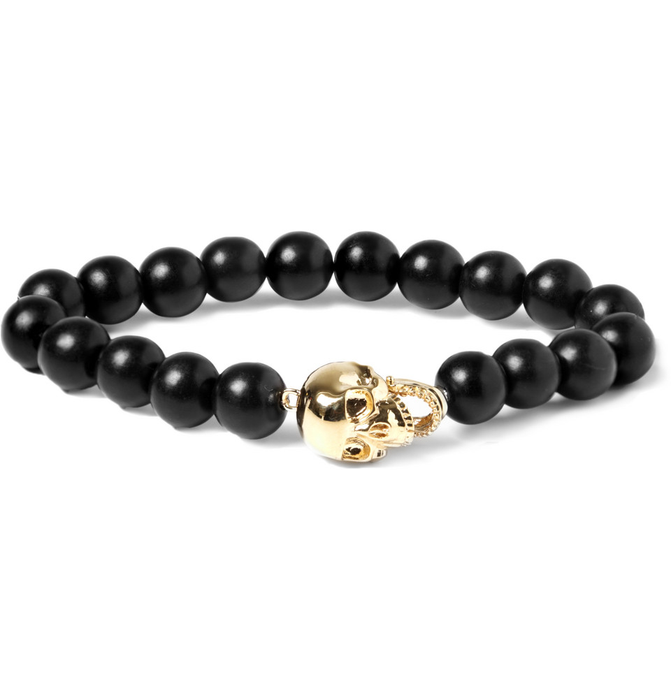 Le Meilleur Luis Morais Yellow Gold Skull And Ebony Bead Bracelet In Ce Mois Ci