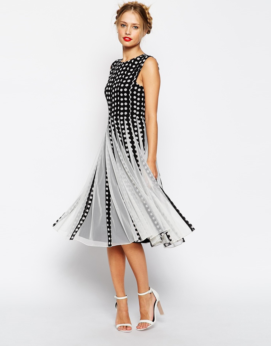 Le Meilleur Lyst Asos Spot Mesh Insert Fit And Flare Midi Dress In Black Ce Mois Ci