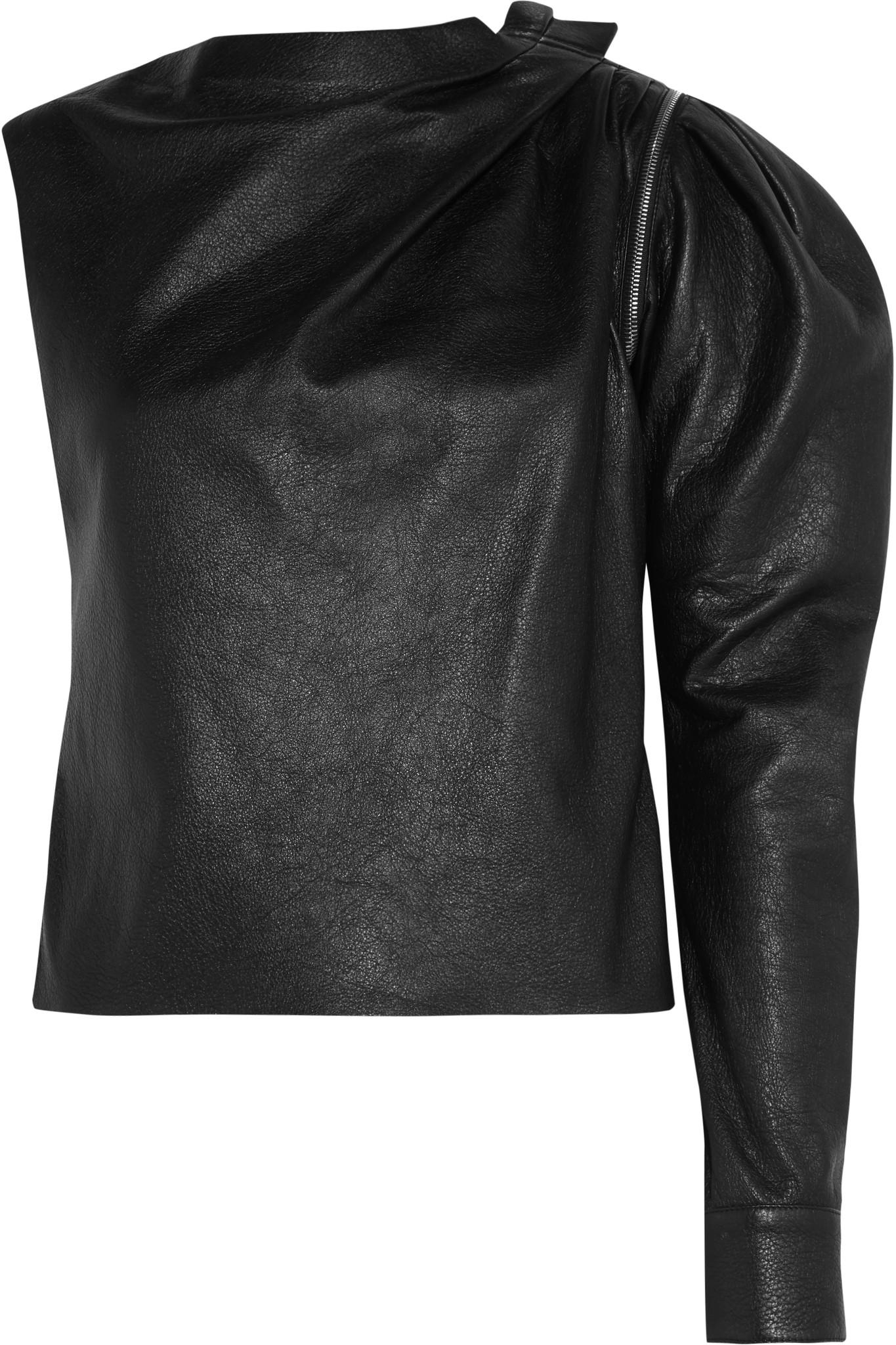 Le Meilleur Lyst Saint Laurent Zip Detailed One Shoulder Leather Top Ce Mois Ci