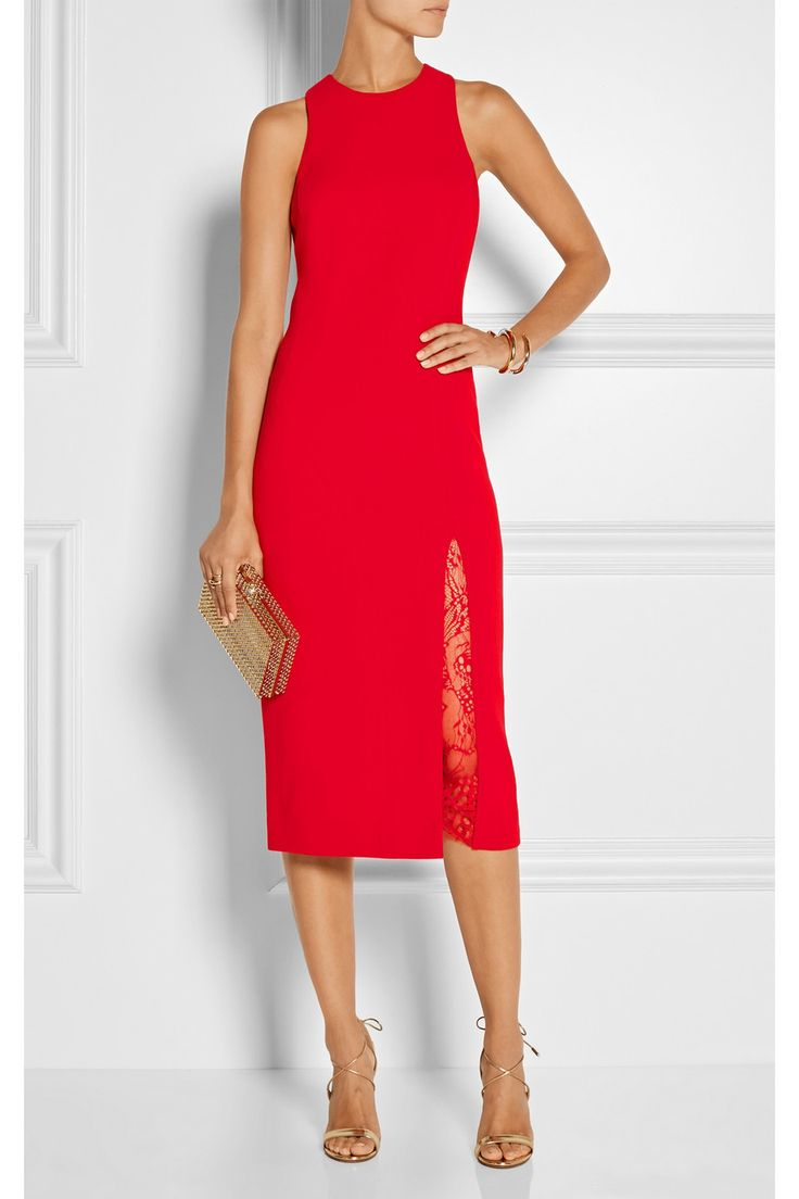 Le Meilleur Tamara Mellon Lace Paneled Stretch Wool Midi Dress Net Ce Mois Ci