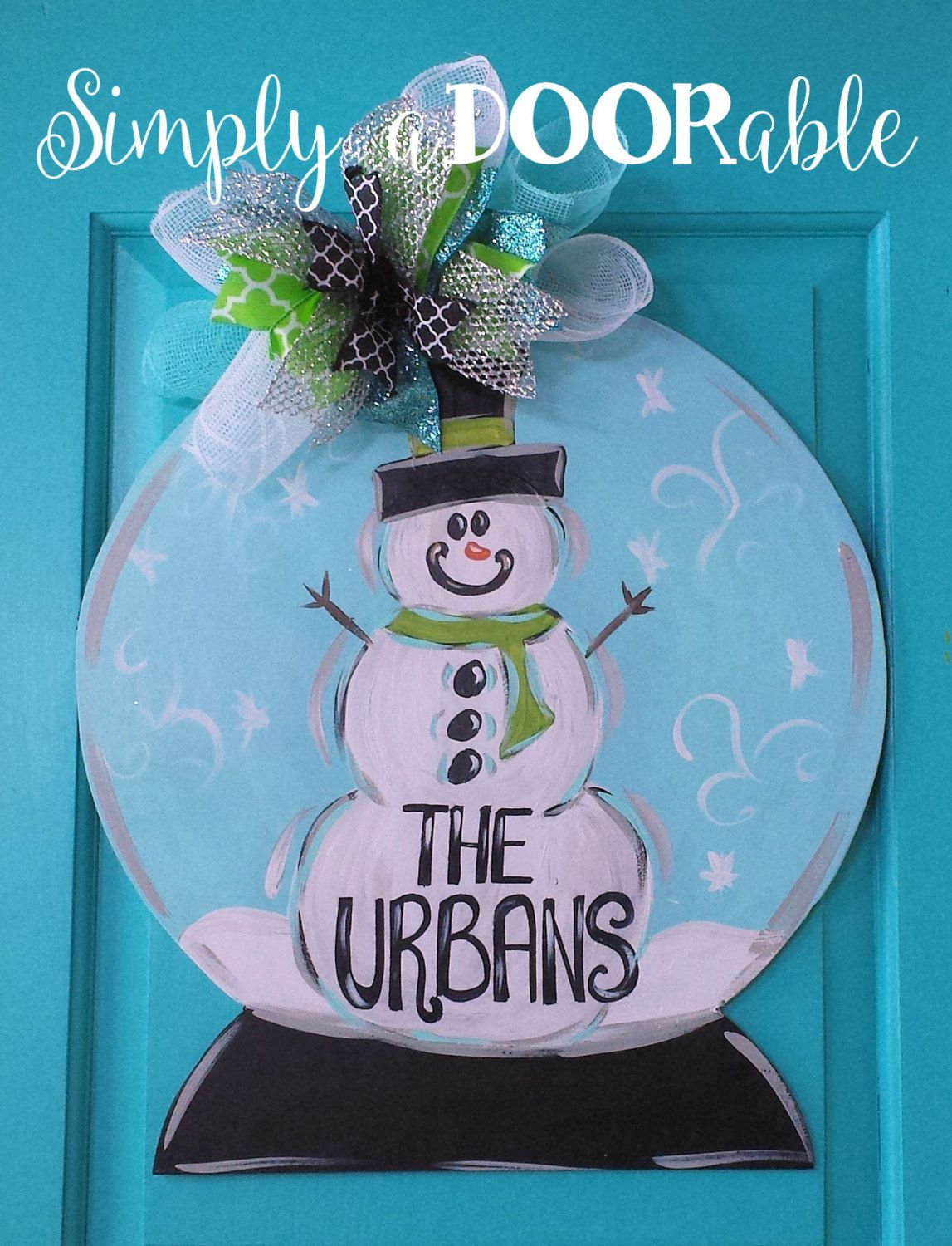Le Meilleur Snow Globe Wood Door Hanger By Simplyadoorable Winter Ce Mois Ci