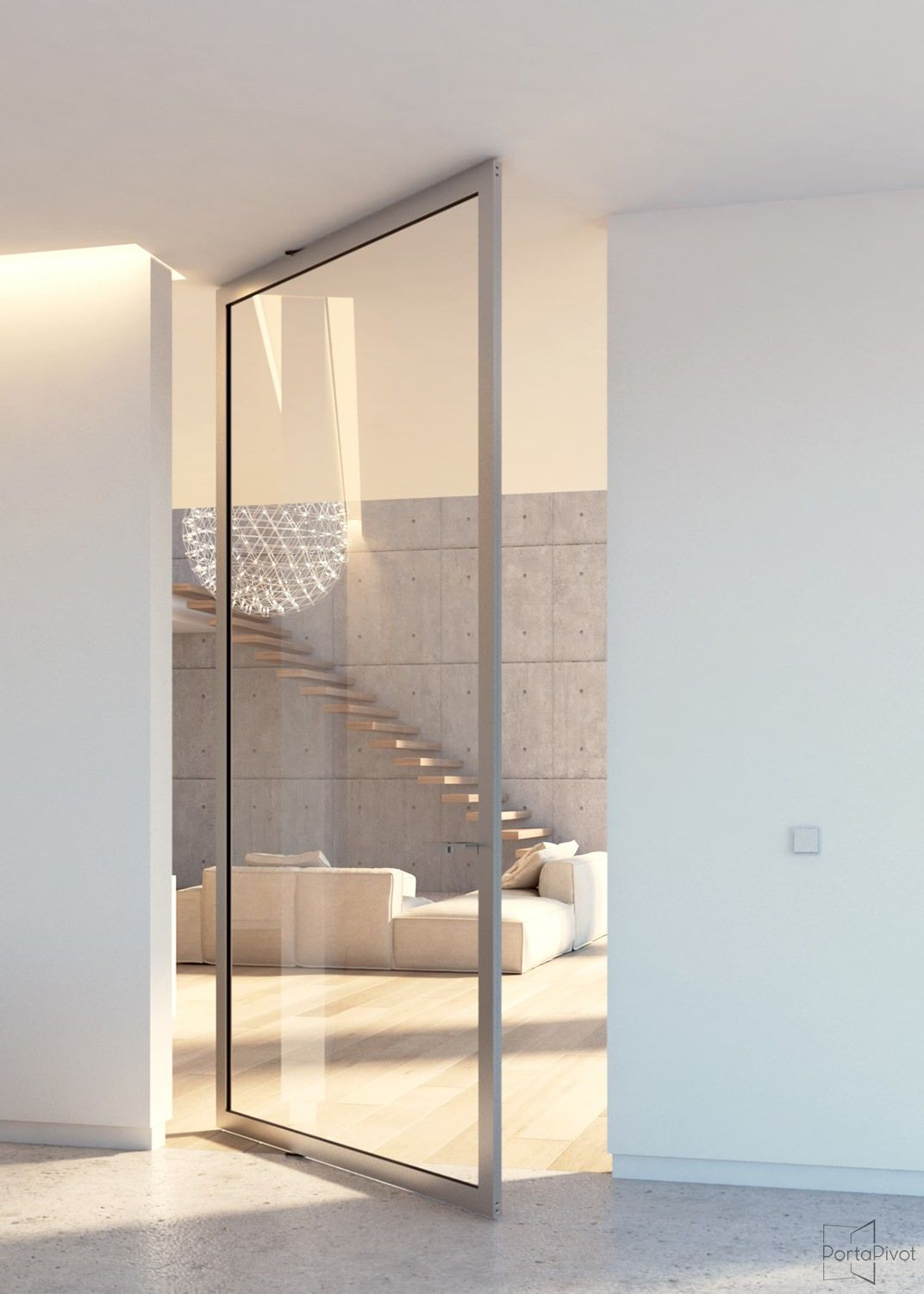 Le Meilleur Modern Glass Pivot Door With Offset Axis Pivoting Hinges Ce Mois Ci