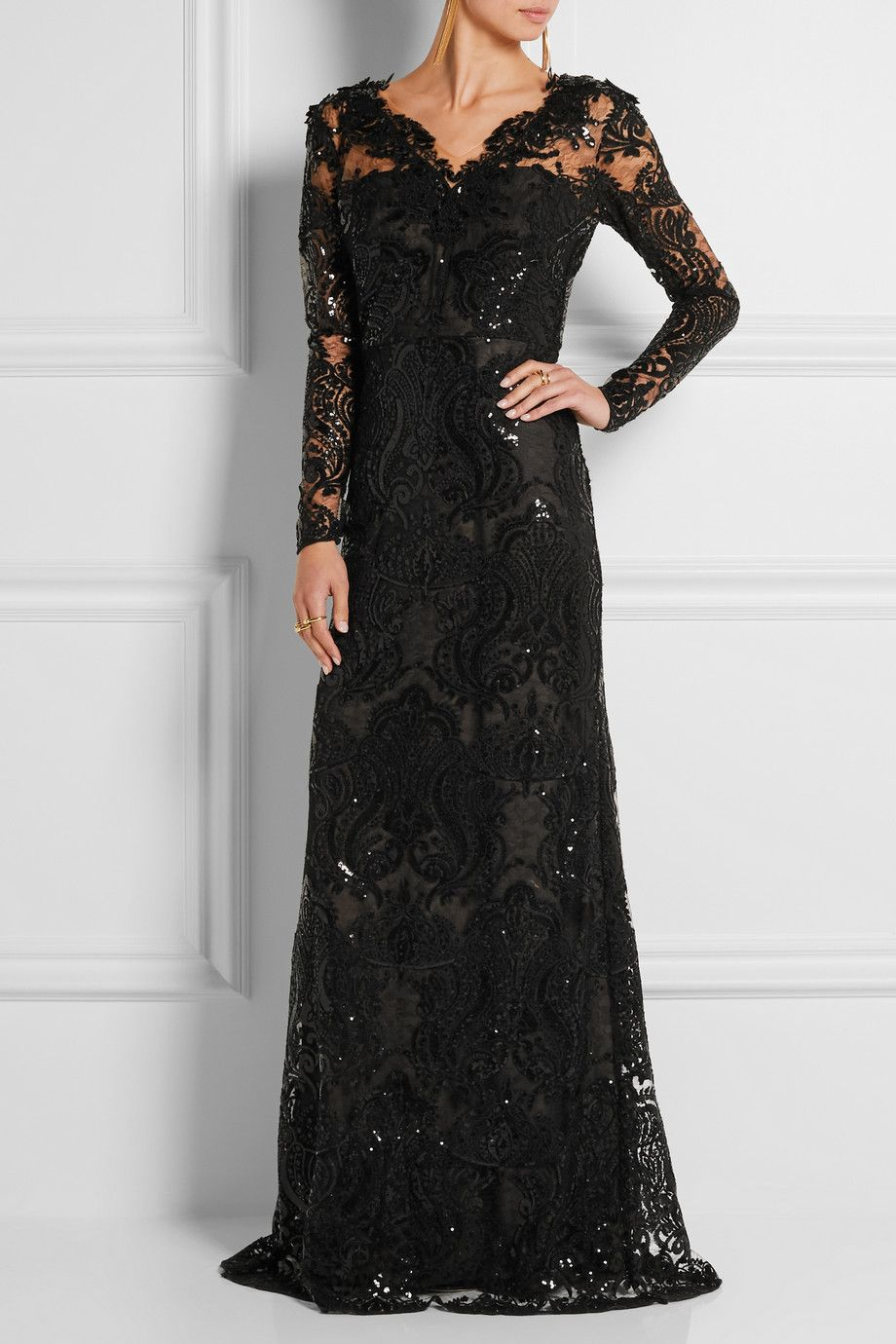 Le Meilleur Marchesa Notte Sequin Embellished Embroidered Tulle Gown Ce Mois Ci