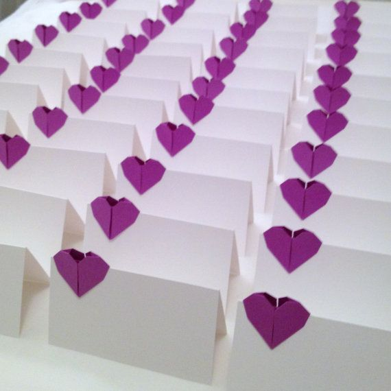 Le Meilleur Place Cards Wedding *Sc*Rt Cards Origami Paper Hearts Ce Mois Ci