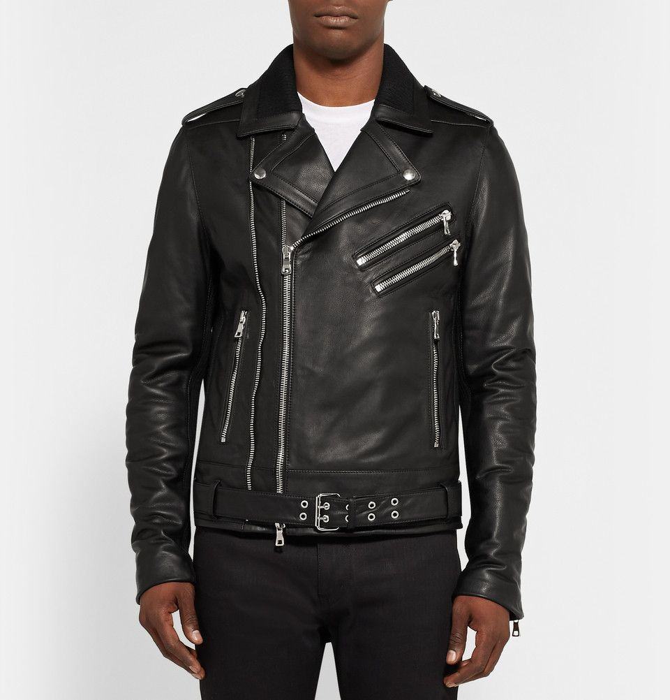 Le Meilleur Balmain Leather Biker Jacket Mr Porter Men S Fashion Ce Mois Ci