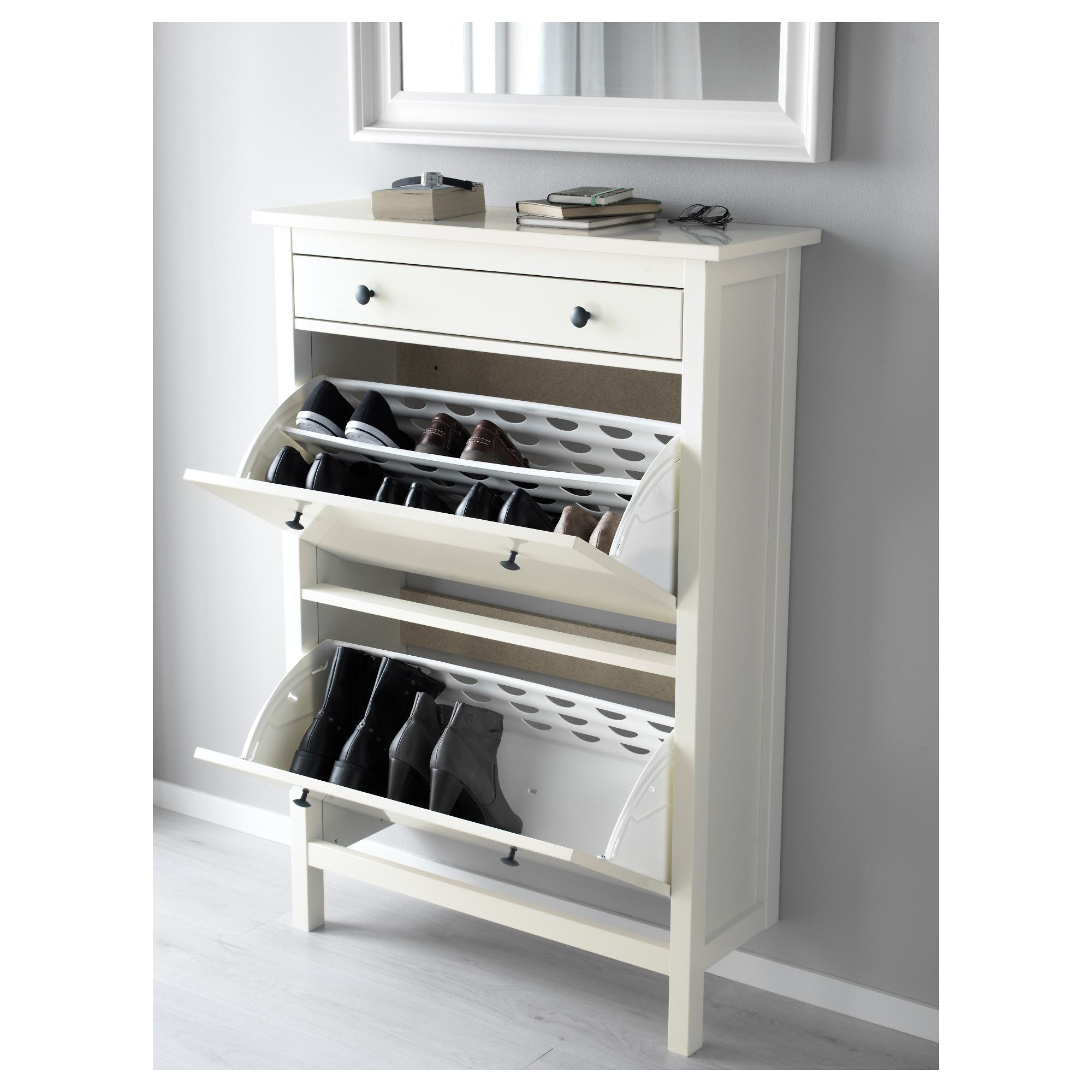 Le Meilleur Ikea Hemnes Shoe Cabinet With 2 Compartments White In Ce Mois Ci
