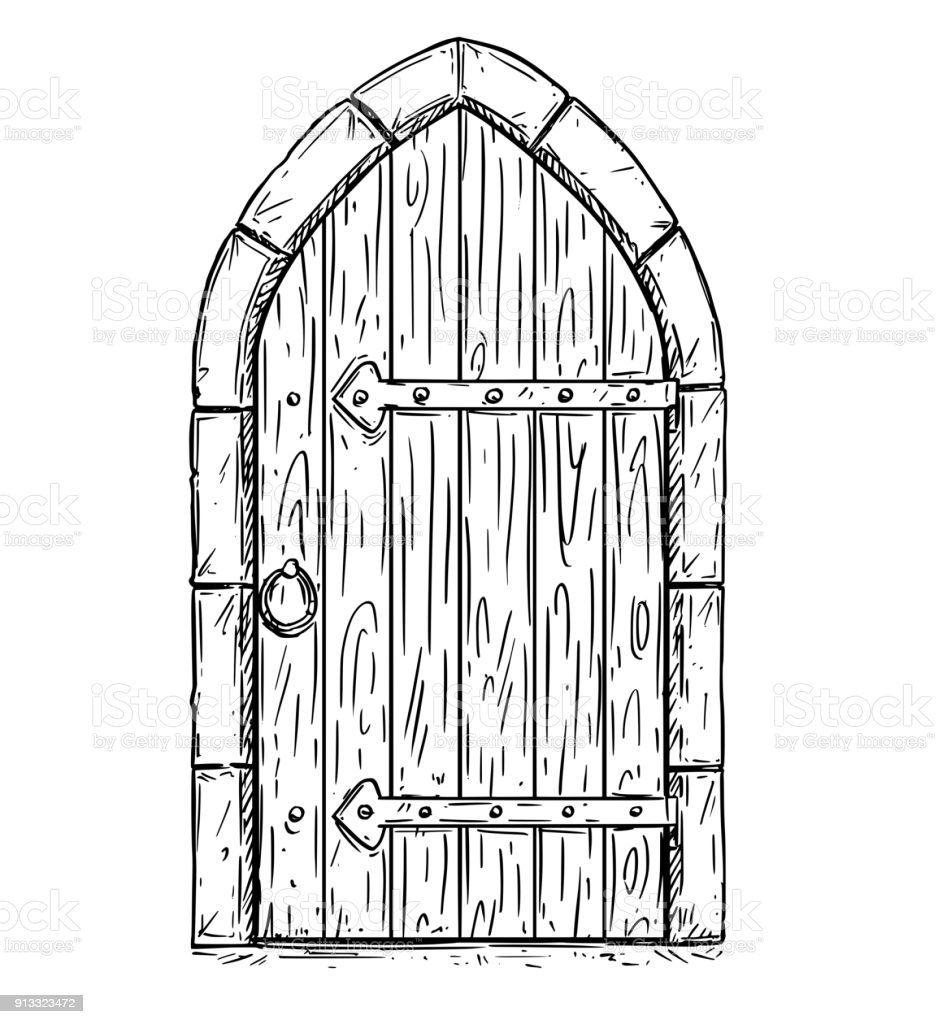 Le Meilleur Cartoon Vector Drawing Of Wooden Medieval Door Closed Or Ce Mois Ci