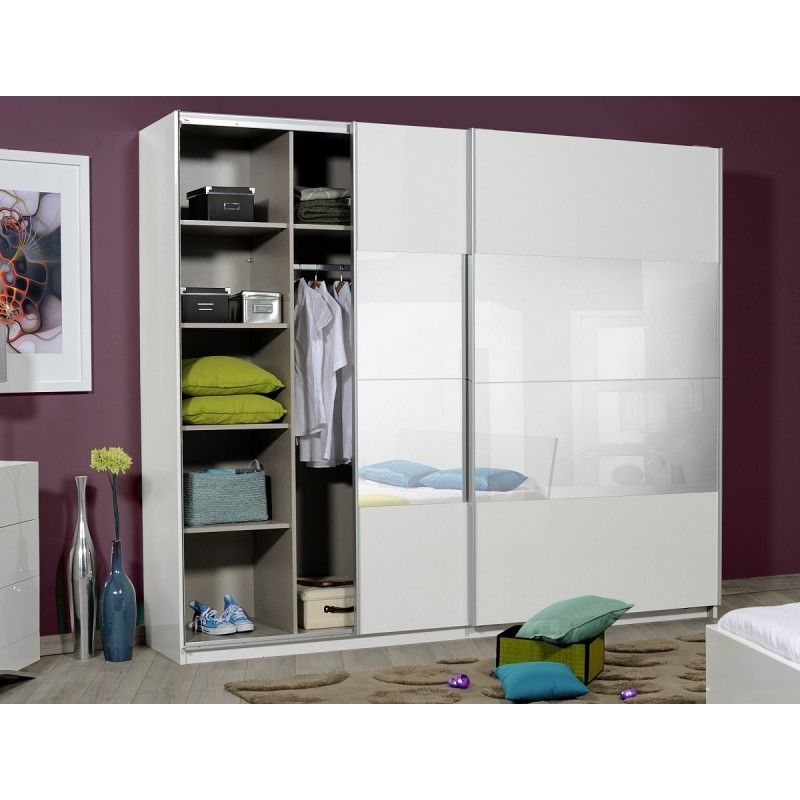 Le Meilleur Optimus Large Black Gloss Wardrobe With Sliding Doors And Ce Mois Ci