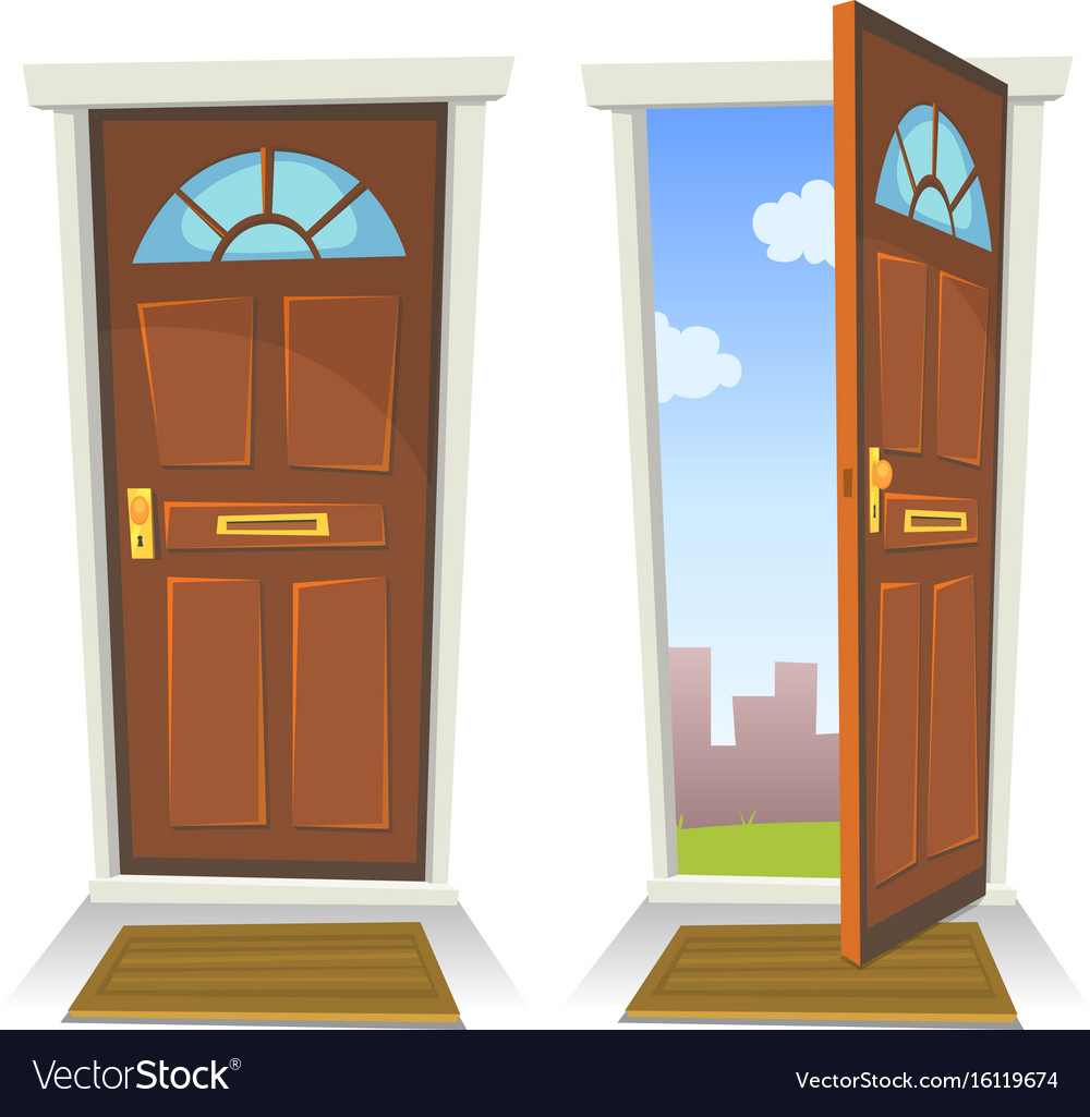 Le Meilleur Cartoon Red Door Open And Closed Royalty Free Vector Image Ce Mois Ci