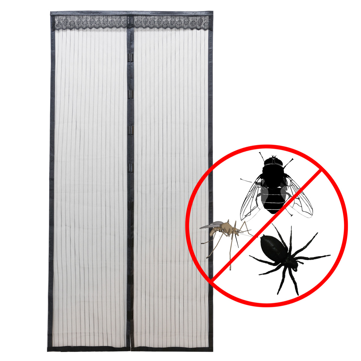 Le Meilleur 100X210Cm Black Magnetic Insect Door Screen Net Fly Bug Ce Mois Ci