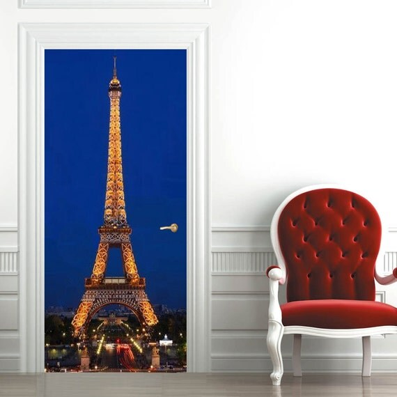 Le Meilleur Door Wall Sticker Eiffel Tower At Night By 3Dwallboutique Ce Mois Ci