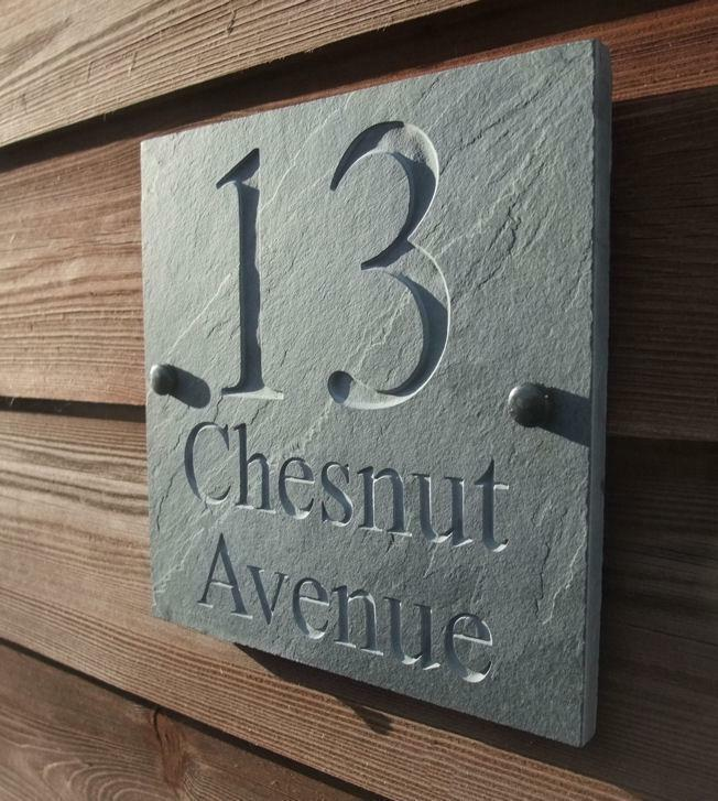 Le Meilleur Engraved Natural Riven Slate House Door Sign Name Number Ce Mois Ci
