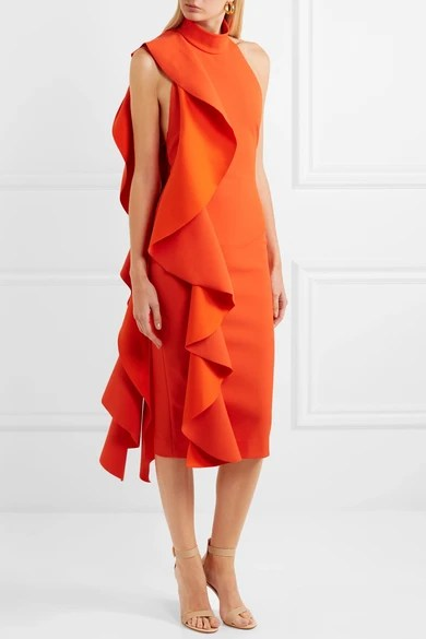 Le Meilleur Solace London Ruffled Crepe Midi Dress Net A Porter Com Ce Mois Ci
