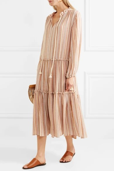 Le Meilleur See By Chloé Rope Trimmed Tiered Striped Gauze Dress Ce Mois Ci