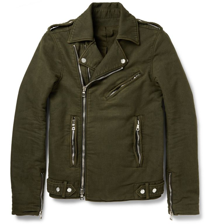 Le Meilleur Balmain Washed Cotton Twill Biker Jacket Mr Porter Ce Mois Ci