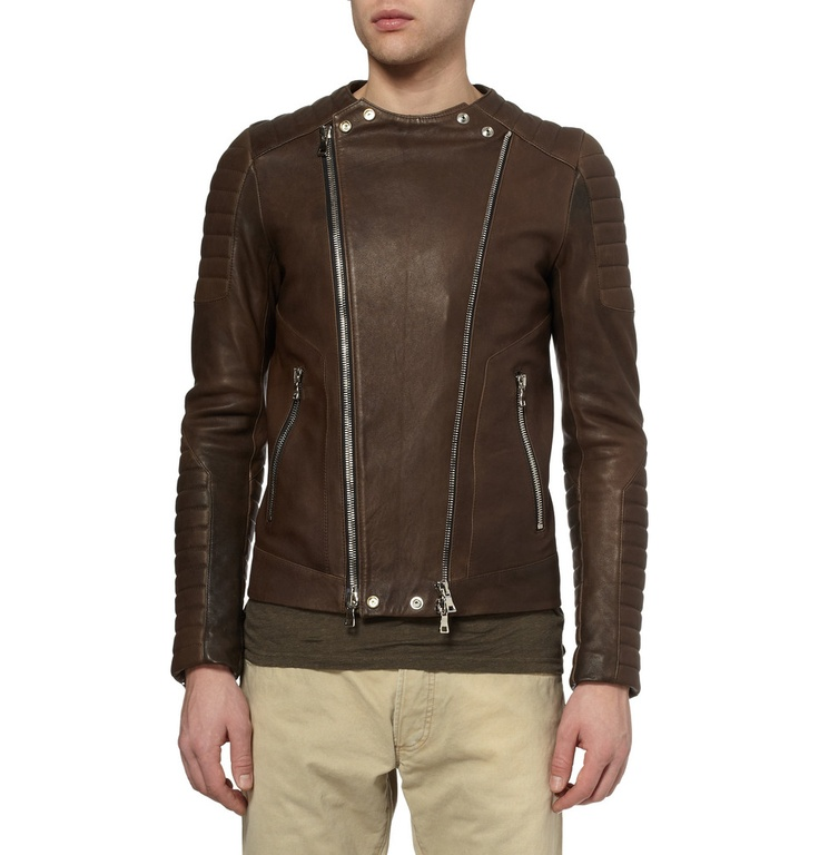 Le Meilleur Balmain Slim Fit Collarless Leather Biker Jacket Mr Ce Mois Ci
