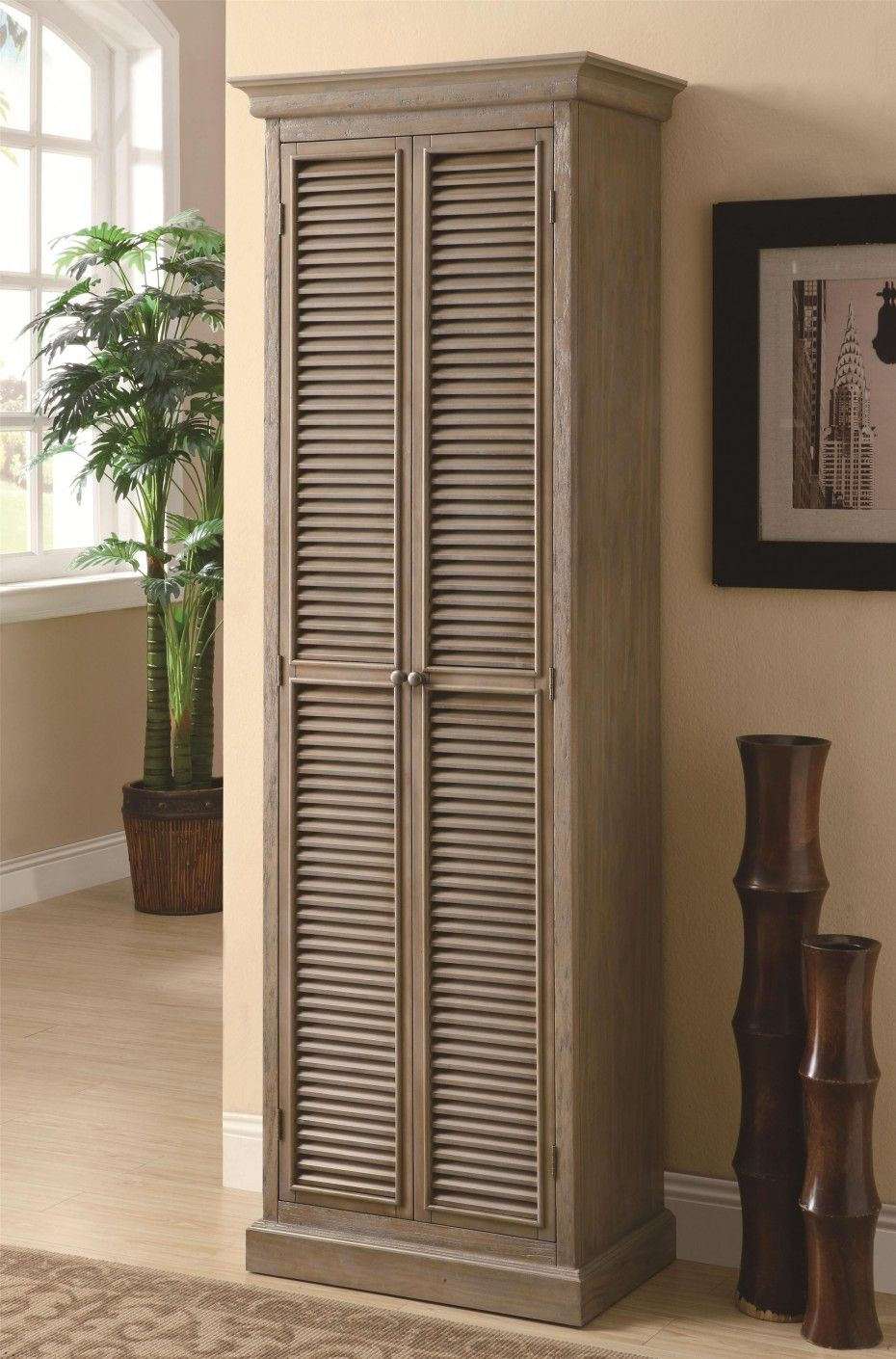 Le Meilleur Unpolished Shutter Door Tall Storage Cabinet Placed On Ce Mois Ci