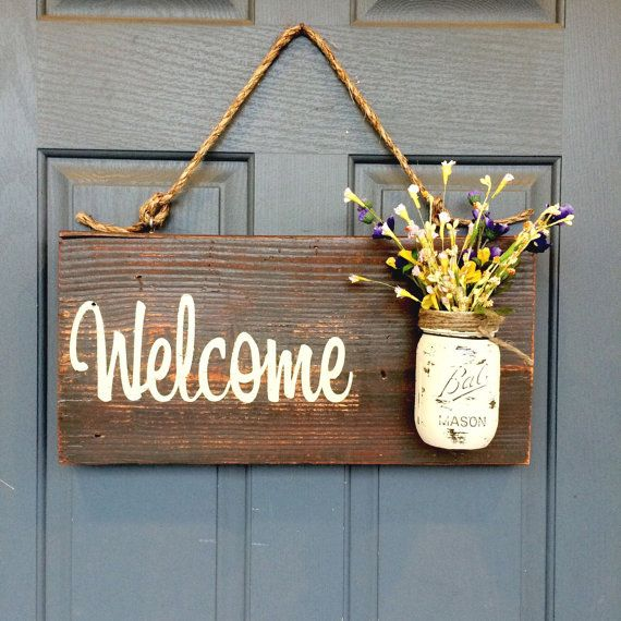 Le Meilleur Mason Jar Welcome Sign Distressed Welcome Sign Ce Mois Ci
