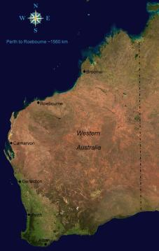 Maps     Western Australia     The Roebourne Bank Murders Map of Western Australia Map of Western Australia Satellite image courtesy  of Wikimedia Commons
