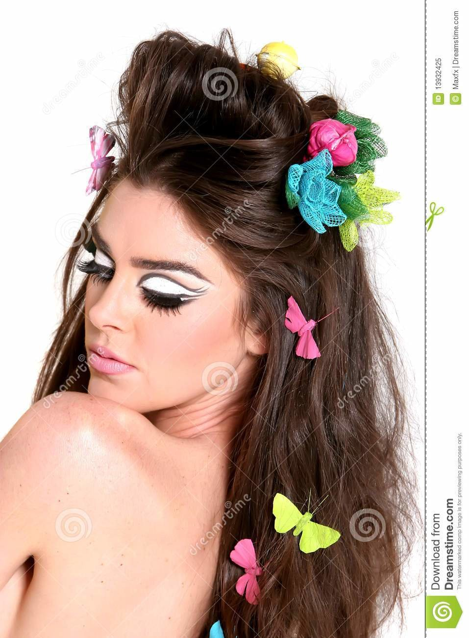 The Best Young Woman With High Fashion Makeup And Hairstyle Stock Pictures