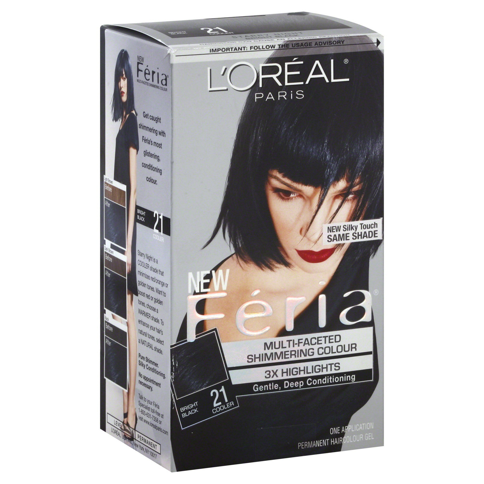 The Best Feria Permanent Haircolour Gel Cooler Bright Black 21 1 Pictures